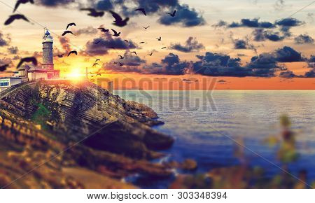 Beautiful Natural  Landscape Cabo Mayor Lighthouse.scenery Coastline And Evening Sky.countryside And