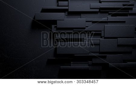 3d Illustration Of Modern And Elegant Wall. Sophisticated Interior Architecture.abstract Black And D