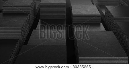 Black Blank Business Cards Set On Black Background, 3d Rendering. Copy Space.