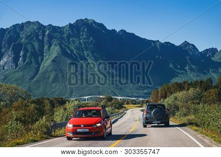 Lofoten, Norway - July 28, 2018: Gimsoystraumbrua Bridge, Roads And Natural Landscape In The Heart O
