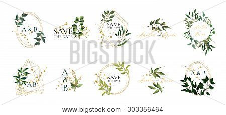 Set Of Floral Wedding Logos And Monogram With Elegant Green Leaves Golden Geometric Triangular Frame