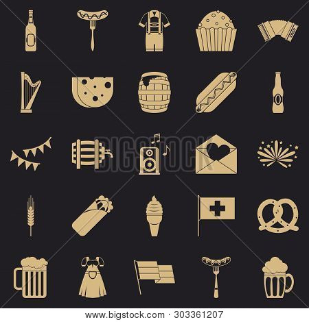 Beer Hangout Icons Set. Simple Set Of 25 Beer Hangout Vector Icons For Web For Any Design