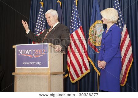 Newt Gingrich at the podium.