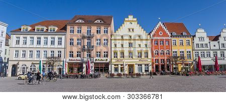 Greifswald, Germany - April 17, 2019: Panorama Of The Historic Market Square In Greifswald, Germany