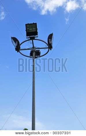 Light Pole On Blue Sky