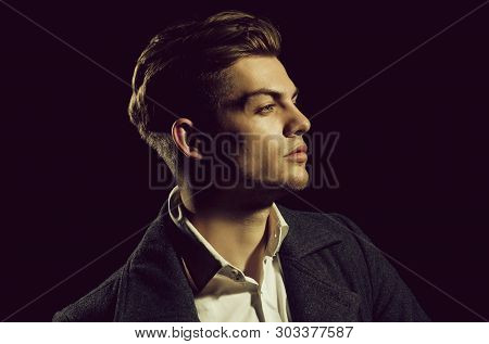 Handsome Man Or Young, Caucasian, Unshaven Macho, Fashion Model, Posing With Serious Face And Stylis