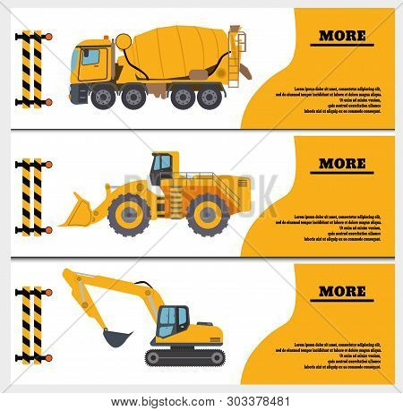 Construction Crew Vehicles Machinery Building Truck Industry Equipment Vector Illustration. Build Tr