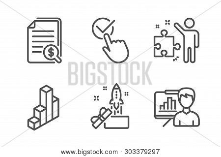 Checkbox, Financial Documents And Innovation Icons Simple Set. 3d Chart, Strategy And Presentation B