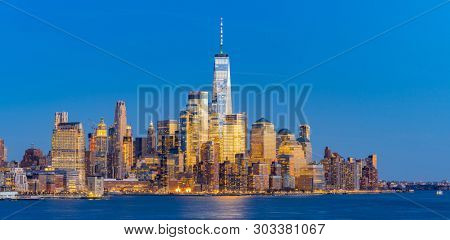 Panorama Aerial view of New York city Manhattan skyline cityscape at dusk from New Jersey.