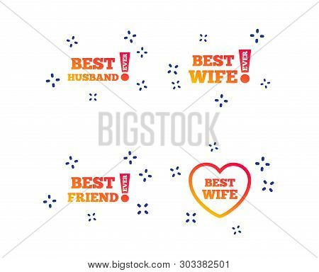 Best Wife, Husband And Friend Icons. Heart Love Signs. Awards With Exclamation Symbol. Random Dynami
