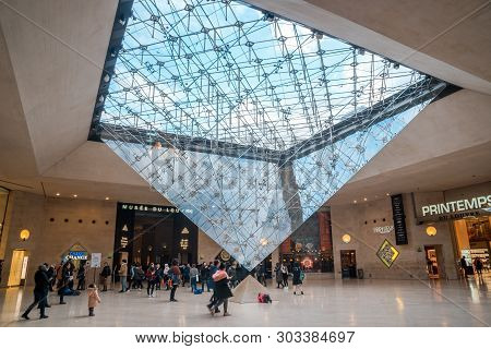 Paris, France - 17.01.2019: People Inside The Louvre Museum (musee Du Louvre).