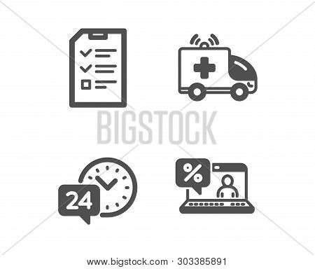 Set Of Ambulance Car, Interview And 24h Service Icons. Online Loan Sign. Emergency Transport, Checkl