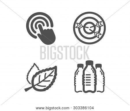 Set Of Targeting, Click And Leaf Icons. Water Bottles Sign. Target With Arrows, Cursor Pointer, Natu