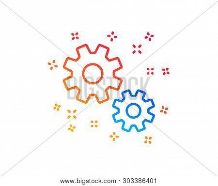 Work Line Icon. Business Management Sign. Cogwheel Or Gear Symbol. Gradient Design Elements. Linear