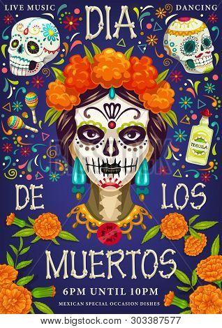 Dia De Los Muertos, Day Of Dead Party. Vector Dia De Los Muertos Traditional Calavera Skull With Mar