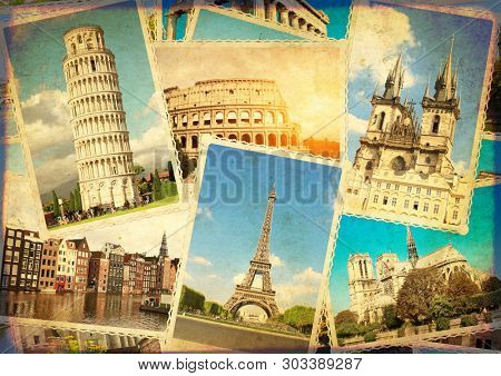 Vintage travel background with retro photos of european landmarks. Eiffel tower in Paris, Leaning Tower of Pisa, Colosseum in Rome, old houses in Amsterdam. Grunge old paper texture