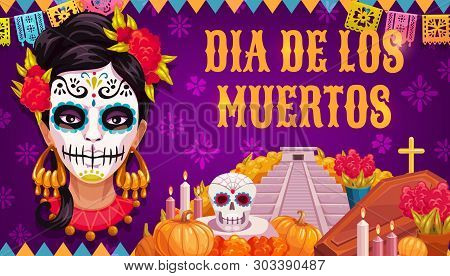 Mexican Traditional Religious Holiday Or Day Of Dead. Vector Woman In Calavera Skull Painting, Aztec