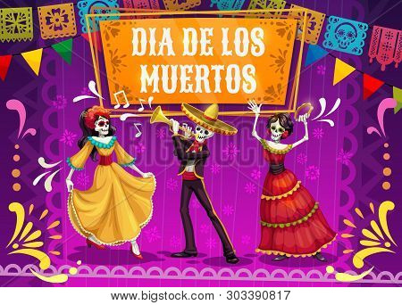 Dia De Los Muertos Skeletons And Catrina Dancing On Mexican Holiday Fiesta Party In Sombrero, Suit A
