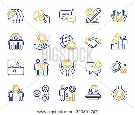 Employees Benefits Line Icons. Business Strategy, Handshake And People Collaboration. Teamwork, Soci