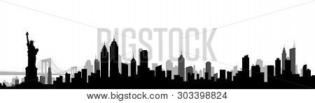 New York City Skyline Silhouette Vector Illustration