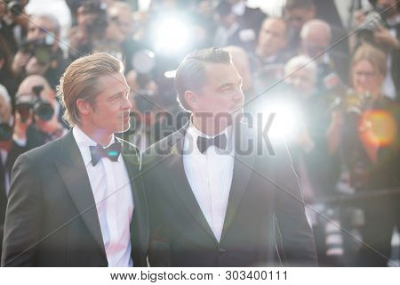 CANNES, FRANCE. May 21, 2019: Brad Pitt & Leonardo DiCaprio at the gala premiere for