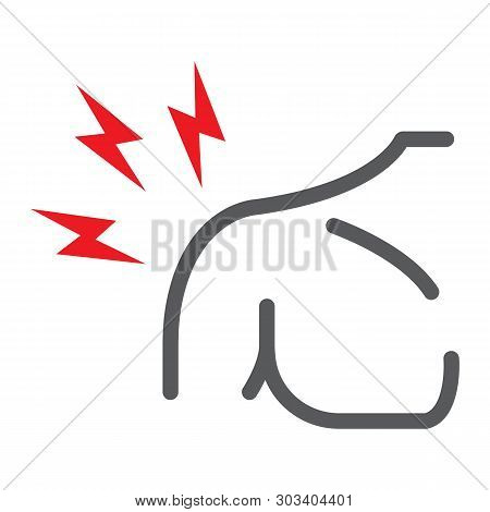 Shoulder Pain Line Icon, Body And Injure, Shoulder Ache Sign, Vector Graphics, A Linear Pattern On A