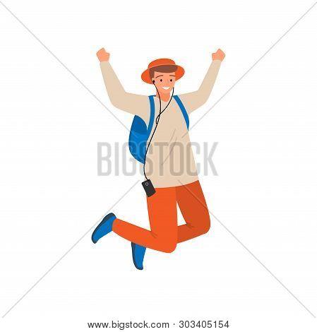 Dancing Modern Student Boy, Jump Up, In Orange Pants