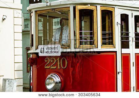 Prague, Czech Republic - May 25, 2019: The Old Tram No. 41 Runs Regularly In Prague. This Tram Alway