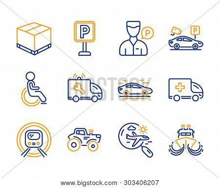 Ambulance emergency, Disabled and Car service icons simple set. Search flight, Valet servant and Parking signs. Car, Delivery box and Parking security symbols. Metro subway, Tractor and Ship. Vector poster