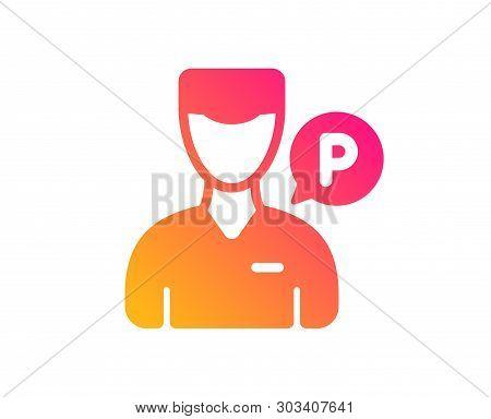 Valet Servant Icon. Parking Person Sign. Transport Park Service Symbol. Classic Flat Style. Gradient