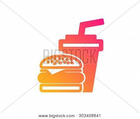 Hamburger With Drink Icon. Fast Food Restaurant Sign. Hamburger Or Cheeseburger Symbol. Classic Flat