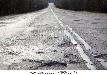 Bad Russian Roads / Hole In The Asphalt, Risk Of Movement By Car, Bad Asphalt, Dangerous Road, Potho