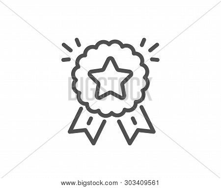 Ranking Star Line Icon. Winner Medal Sign. Best Rank Symbol. Quality Design Element. Linear Style Ra