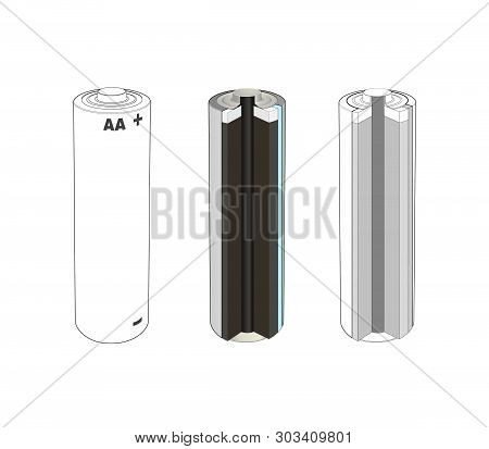 Aa Alkaline Or Lithium Single Cell Battery Scheme. Battery Inside Cut Diagram. Isolated Vector Illus