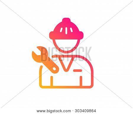 Spanner Tool Icon. Repairman Service Sign. Fix Instruments Symbol. Classic Flat Style. Gradient Repa