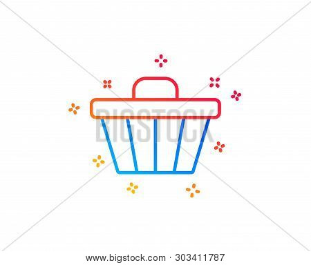 Shopping Cart Line Icon. Online Buying Sign. Supermarket Basket Symbol. Gradient Design Elements. Li