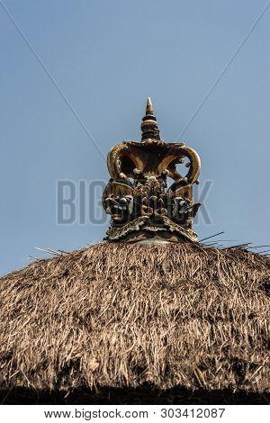 Dusun Ambengan, Bali, Indonesia - February 25, 2019: Clan Compound. Closeup Of Crown-like Decoration