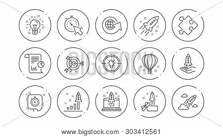 Startup Line Icons. Launch Project, Business Report And Target. Strategy Linear Icon Set. Line Butto
