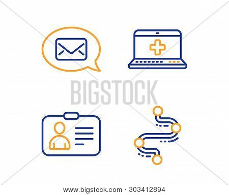 Messenger, Id Card And Medical Help Icons Simple Set. Timeline Sign. New Message, Human Document, Me