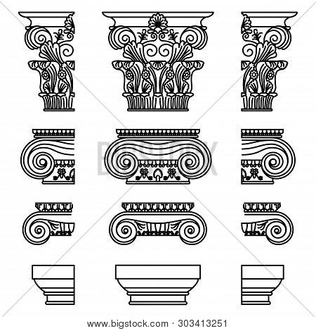 A Set Of Antique Greek Historical Capitals For Calon: Ionic, Doric, And Corinthian Capitals With A C