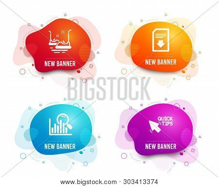 Liquid Badges. Set Of Bumper Cars, Search And Download File Icons. Quick Tips Sign. Carousels, Analy