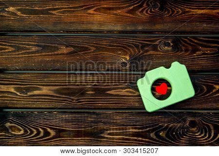 Photo Camera Concept On Wooden Background Top View Copy Space