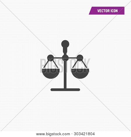 Black Law Scale Vector Icon, Justice Symbol. Modern, Simple Flat Vector Illustration For Web Site Or