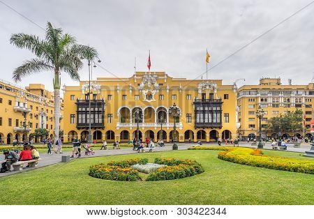Lima Peru - April 29, 2019 - La Municipalidad De Lima Municipal Building City Hall On Plaza Mayor Ar