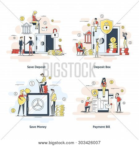 Flat Linear Illustrations, Dollars In A Deposit Box, Safe Savings, A Money Deposit, Bank Employees,