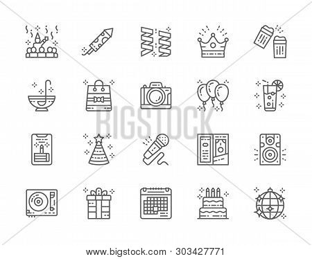 Set Of Party Line Icons. Celebration, Firecracker, Garlands, Crown And More.