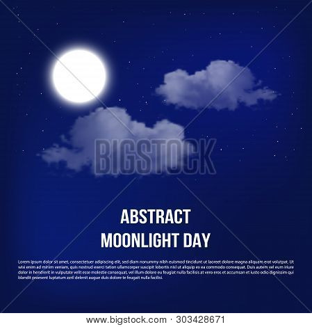 Mystical Night Sky Background With Full Moon And Clouds. Moonlight Night With Copy Space For Winter