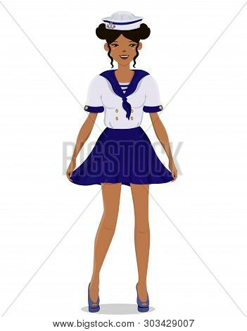 The Girl In A Sailor Uniform In Full Growth. Vector Image.