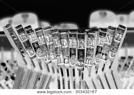 the word   BEWILDERMENT with old typwriter keys  monochrome