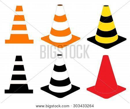 Construction Cone Icon On White Background. Traffic Cones Sign. Plastic Traffic Cones Symbol.